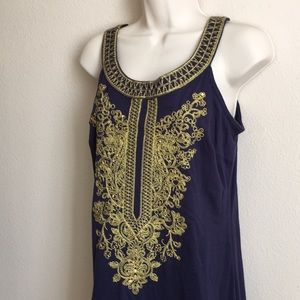 INC Blue Gold Sequin Embroidered Midi Dress!